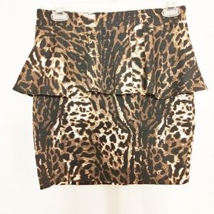 Aqua Animal Print Mini Skirt Size Medium